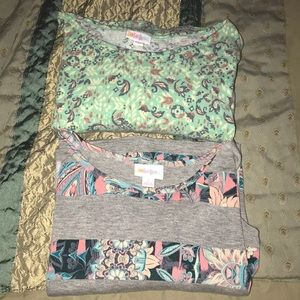 2 LuLaRoe patterned irmas size small pre owned